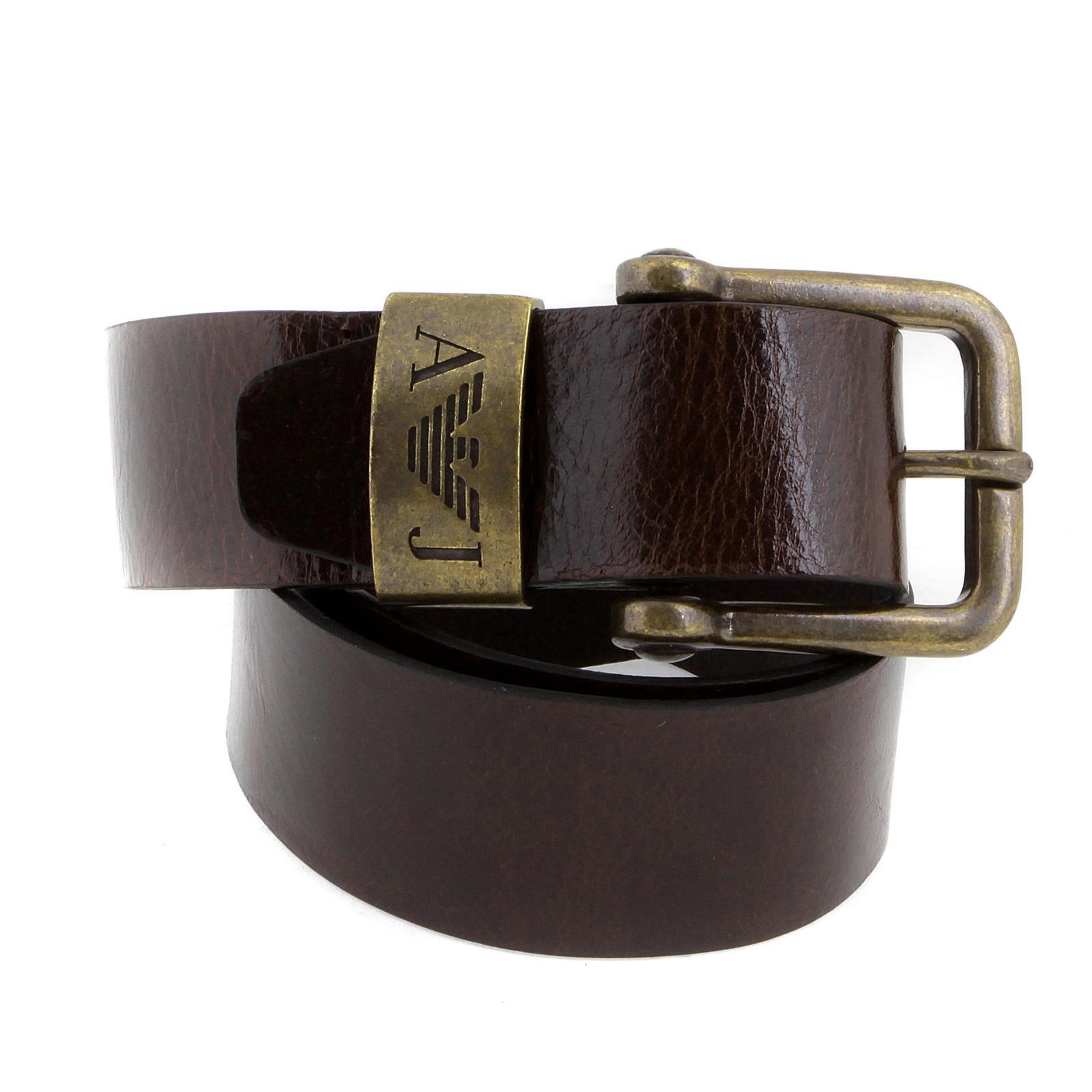 armani chocolate brown leather casual belt p6104 uh